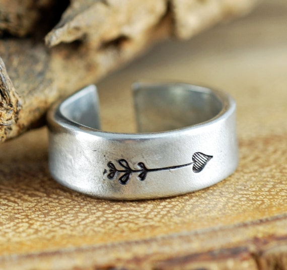 Be Fearless Ring, Arrow Ring, Secret Message Ring, Boho Ring, Custom Cuff Ring, Bohemian Ring, Personalized Ring, Personalized Pewter Ring