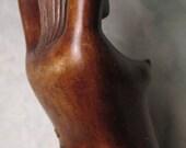 "Vintage Carved Wood NUT CRACKER  woman mermaid risque man cave barware 13"" long nude nutcracker"