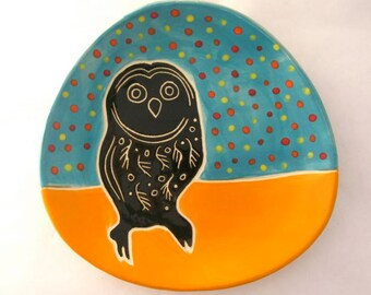 Owl Plate- Turquoise with Polkadots