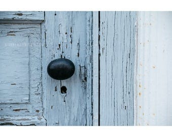 Door Photography Rustic Decor Wisconsin Art Architecture Photograph Vintage Door Knob Blue Art Shabby Chic Peeling Paint