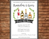 Stock the Bar Liquor Spirits Alcohol Wine Engagement Wedding Bride Groom Shower Party Invitation - DIGITAL FILE