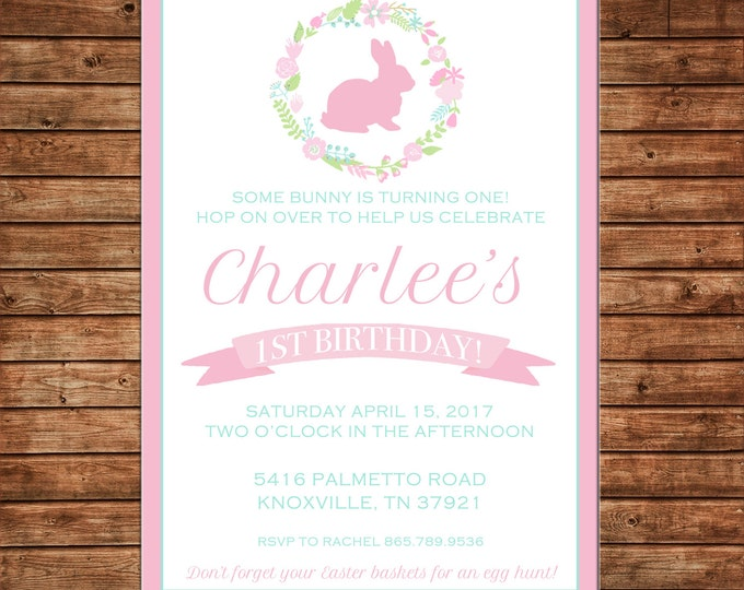 Girl Invitation Easter Egg Hunt Bunny Baby Shower Birthday Party - Can personalize colors /wording - Printable File or Printed Cards