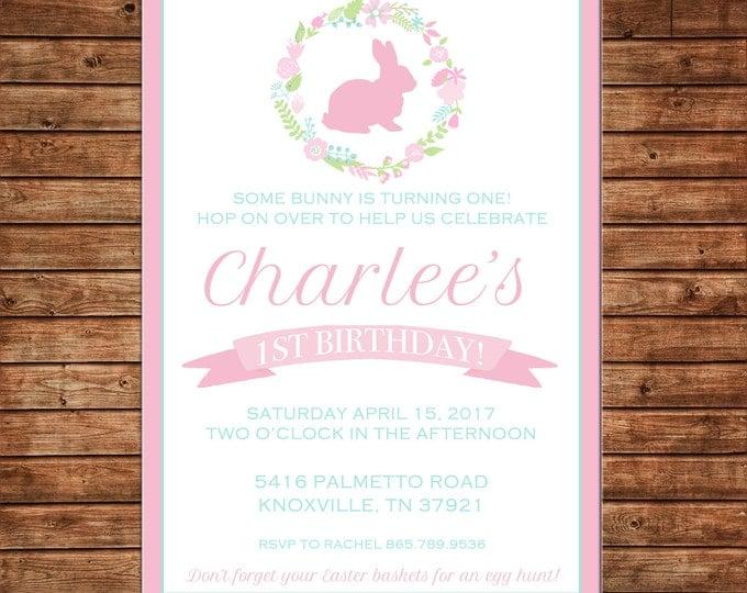 Birthday Bunny Easter Rabbit Baby Shower Egg Hunt Floral Wreath Invitation - DIGITAL FILE