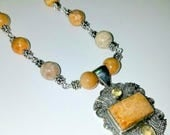 Yellow Fossil Coral with Citrine