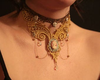 Fairy Victorian Sparking Golden Antique Lace choker with Doves,Cherubs and AB Crystals