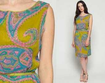 60s Mod Dress Mini Paisley Psychedelic Print Boho 70s Hippie Bohemian Shift Vintage 1960s Sleeveless Minidress BELT Green Blue Small