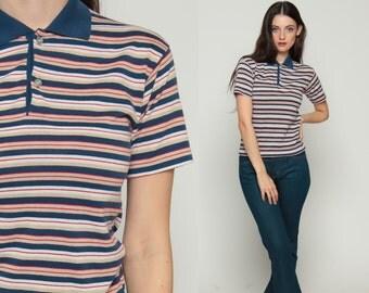 Polo Shirt Striped Shirt 80s Top Button Up Tshirt Tennis Blue Red Tan Preppy 1980s Short Sleeve Shirt Top Vintage Collar Extra Small xs