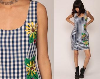 Gingham Dress 90s Mini Grunge Embroidered Floral LADYBUG Vintage Checkered Plaid 80s Sleeveless Blue White Sheath Small Medium