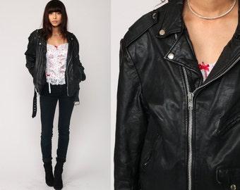 Leather MOTORCYCLE Jacket 80s Black Biker Jacket Distressed 1980s Vintage Moto Punk Rock Hipster Coat Belted Zippered Epaulette Medium