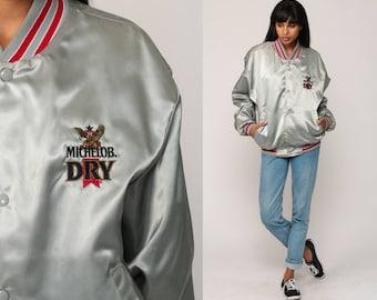 Satin Jacket Beer Jacket MICHELOB DRY Bomber Baseball Jacket Shiny 80s Shiny Sports Coat 1980s Vintage Uniform Jacket Retro Large