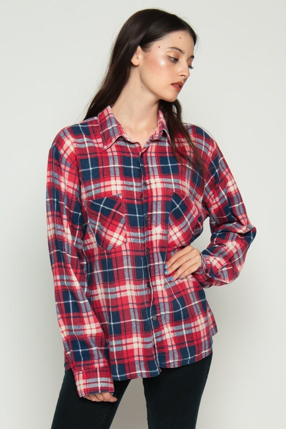 Plaid flannel shirt button up 90s grunge red blue long 1990s for Button up flannel shirts