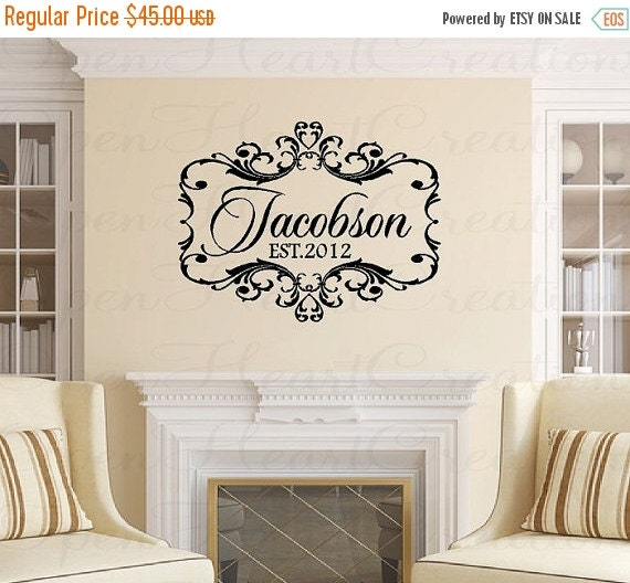Sale Family Name Wall Decal Wedding Vinyl By