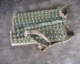 Vintage Sewing Fabric Trim with Sequins & Faux Pearls - 6 3/4 yards