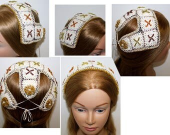 Renaissance, Juliet cap, Headpiece,OFF WHITE with GOLD,Borgias inspired,Medieval,Sca, hair accessory,hairpiece, headdress, Elizabethan,cap,
