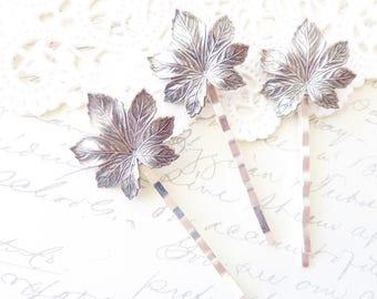 Ox Silver Maple Leaf Hair Pin Set - Silver Leaf Bobby Pins - Silver Maple Leaf Hair Accessories - Woodland Leaf Hair Pins - Bridal Hair Pins