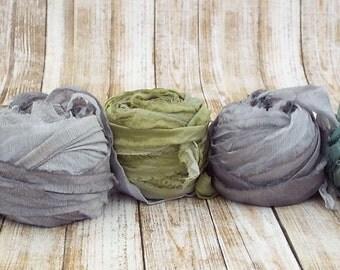 Chiffon Ribbon, Recycled Silk Sari Chiffon Ribbon, Tiebacks, Baby Photography Prop, Wedding Invitations, Bridal Showers, Flowers, Set 2 50yd