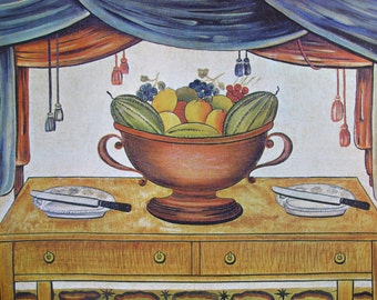 Bowl of Fruit/Market Square, American Primitive Painting, 1962 Reproduction Book Page, Color Plate, 9.5 x 12 in
