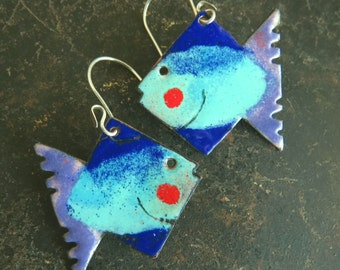 Rustic, quirky, aqua, dark blue, mauve and red enamel dangle fish earrings by Vintajia Adornments