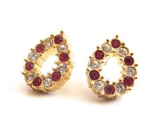 Vintage 80's Avon // Red and Clear Rhinestone Teardrop Earrings