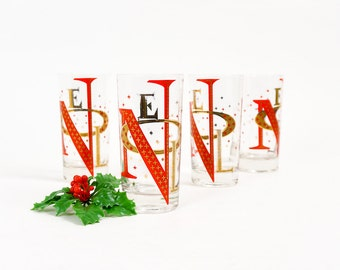 Vintage 1960s Glassware / Gay Fad Set of 4 Christmas Noel Cocktail Glasses / Orange Gold Starburst Retro Atomic Christmas Barware
