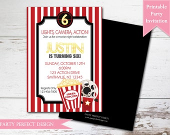 Movie Night Birthday Party Invitation - Print your own