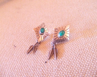 Native American Indian earrings -  Turquoise -sterling silver-  FREE SHIPPING SALE