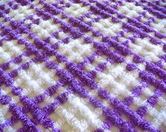 Lilac Ultra Plush Ribbed Vintage Cotton Chenille Bedspread Fabric 18 x 24 Inches
