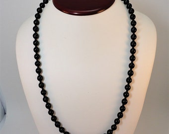60s French Jet Black Glass Round Beads Matinee Necklace