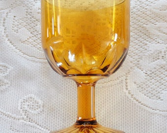 70s Amber Yellow clear molded glass footed wine glass
