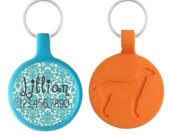 Blue Damask Personalized Dog ID Pet Tag Custom Pet Tag You Choose Tag Size & Colors