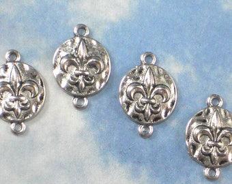 8 Round Fleur de Lis Connectors Links Antiqued Silver NOLA FDL Cajuns (P1455)