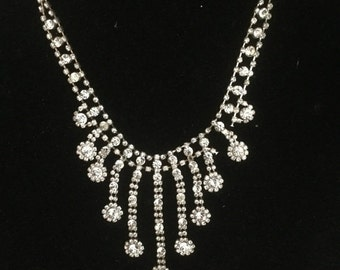 ON SALE Vintage Wedding Rhinestone Drop Pendant Necklace