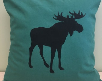 "16"" Forest green moose pillow cover"