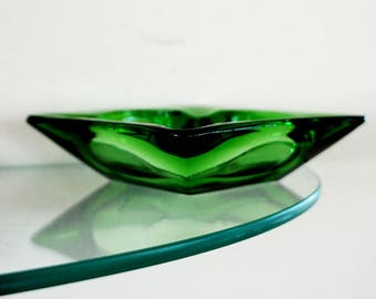 Vintage Green Glass Ash Tray Square Kelly Green
