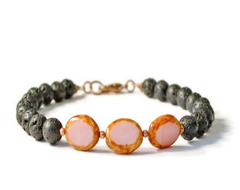 Aromatherapy Essential Oil Diffuser Bracelet, Lava Stones & Pink Czech Glass