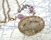 mother necklace assemblage upcycled mom jewelry cameo spring ooak cottage chic butterfly