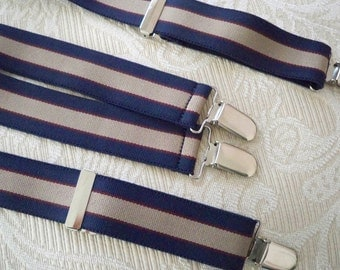 Vintage Accessory Suspenders Navy / Tan Stripe Men's Suspenders