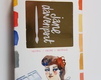 Brand New Jane Davenport Petite Palette Watercolors Set NEUTRAL 12 Colors