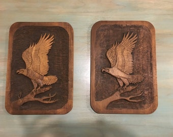 PAIR of Eagle Wooden Carving Plaques