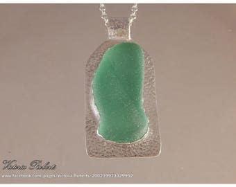 Seafoam Coke Bottle  Sea Glass Necklace in Fine Silver with 18 inch ss rollo chain