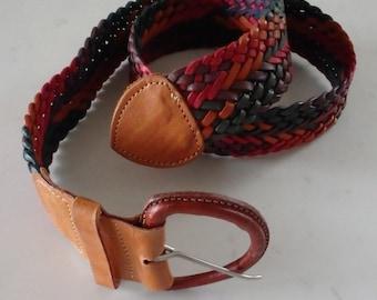 Leather Belt Vintage Woven Multicolor