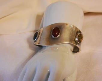 Sterling Mexican Cuff Bracelet with stones 925