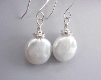 Coin Pearl Earrings, Pearl Dangle Earrings, Drop Pearl Earrings, Nickel Free Earrings, June Birthstone Jewelry, Freshwater Pearl Earrings