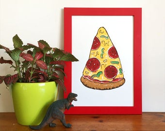 Pepperoni Pizza Slice Linocut Print - Food Print, Kitchen Print, Pizza Lover Gift, Funny Print,