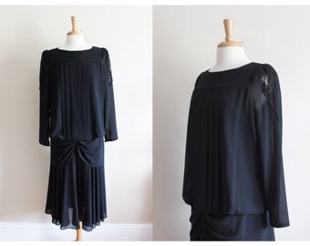 Vintage 1980s does 1920s Black Chiffon Diane von Furstenberg Dress