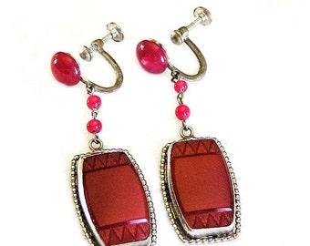 Czech Carnelian Bead and Engraved Glass Art Deco Earrings