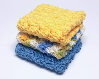 Dishcloths Washcloths Cotton Crochet Blue Yellow White Set of 3 Kitchen Facial Cloths Housewarming Gift