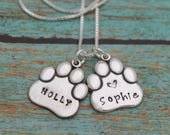 Personalized Paw Necklace, Pet Remembrance Necklace, Pet Memorial Jewelry, Dog Cat Paw Necklace, Sterling Silver Hand Stamped Jewelry