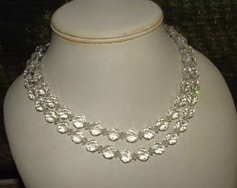 RARE 1950s SIGNED CARMEN- double row of highly cut crystals- necklace brilliant shine all authentic signed 2 times rare name