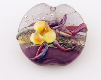 Lampwork Bead  Glass Floral Lentil Focal Purple, Lavender, Silver SRA